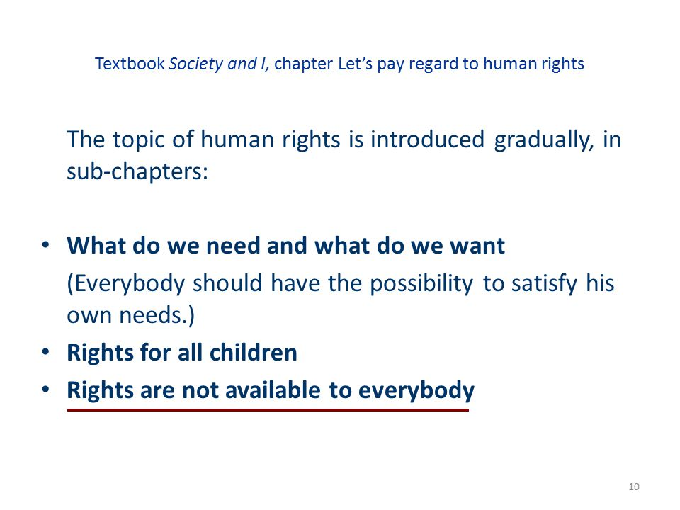 Textbook Society and I, chapter Let's pay regard to human rights