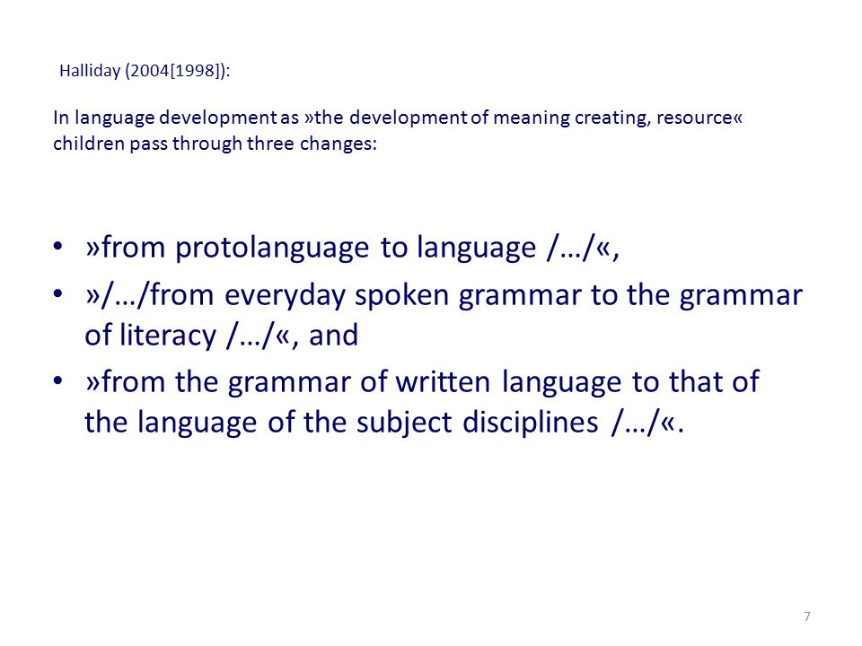 »from protolanguage to language /…/«,