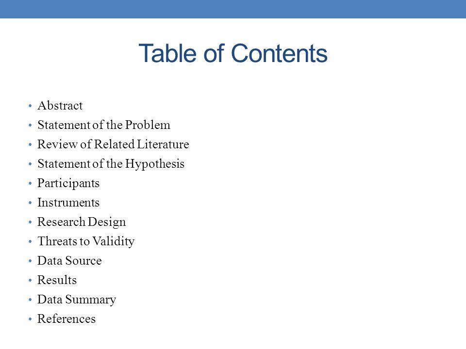 Table of Contents Abstract Statement of the Problem