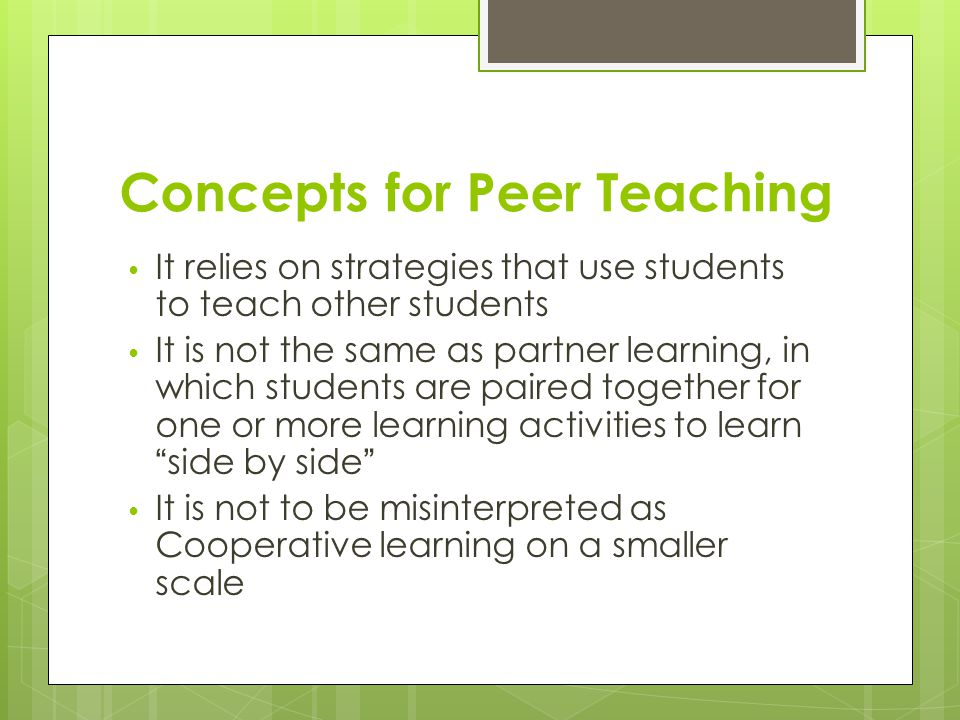 Concepts for Peer Teaching