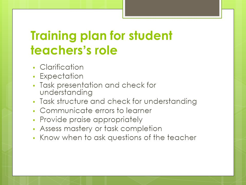 Training plan for student teachers's role