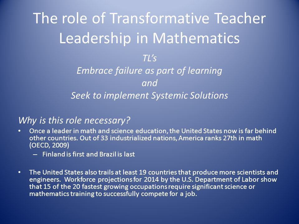 The role of Transformative Teacher Leadership in Mathematics