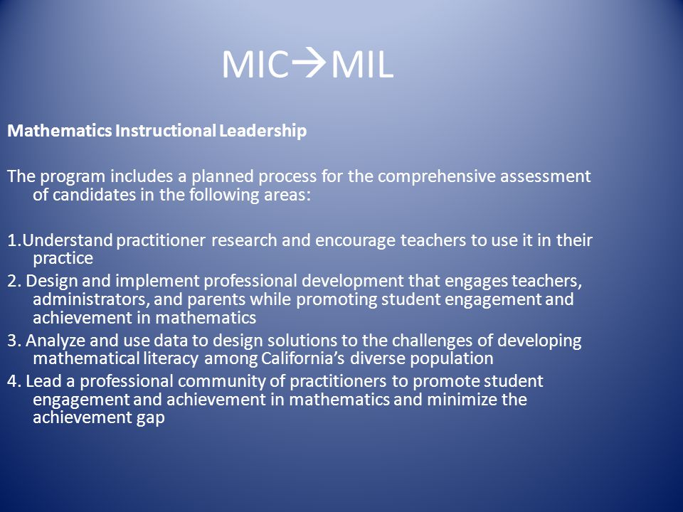 MICMIL Mathematics Instructional Leadership