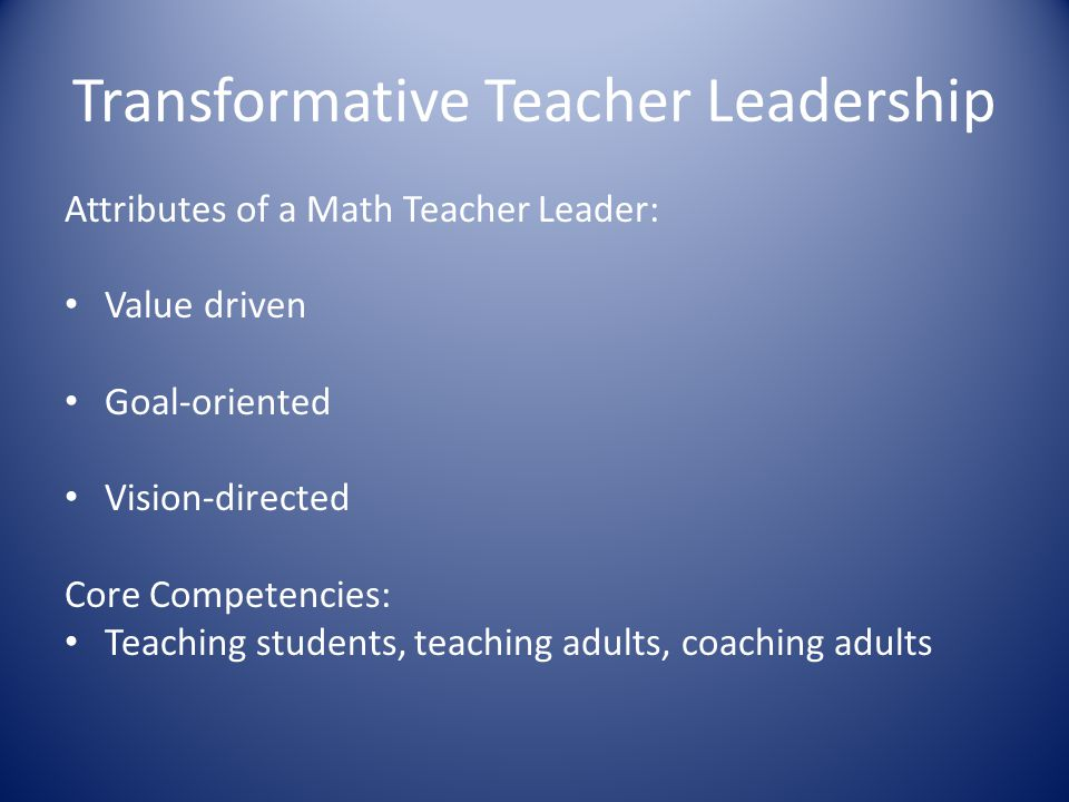 Transformative Teacher Leadership