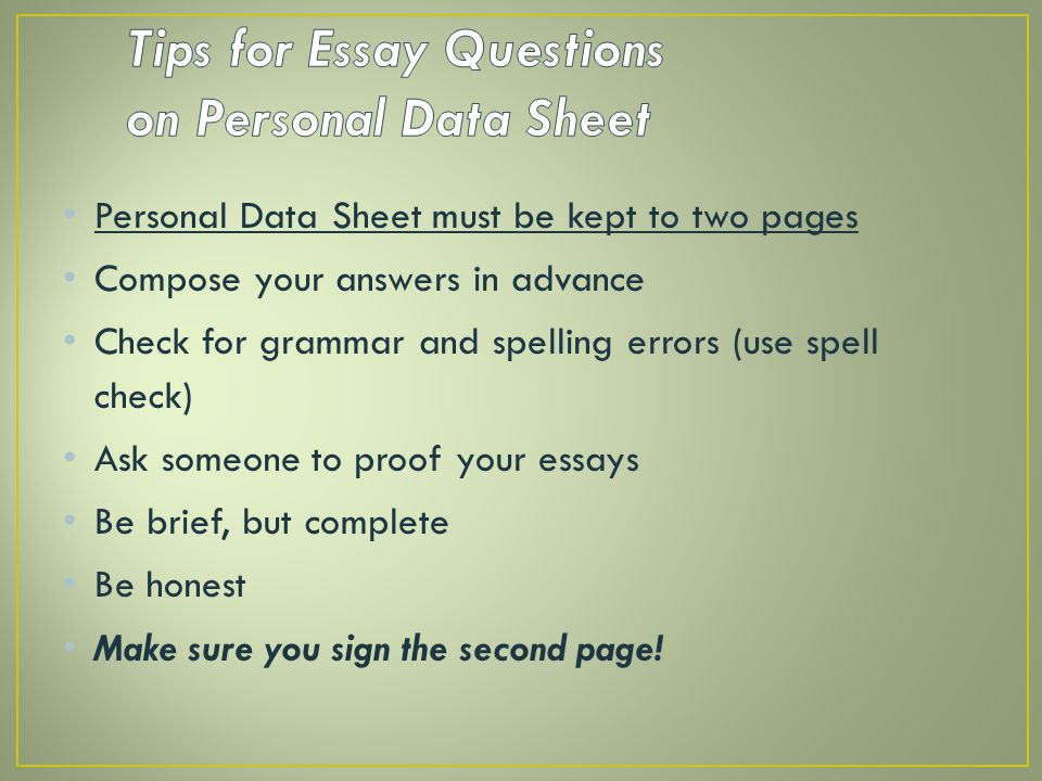 Tips for Essay Questions on Personal Data Sheet