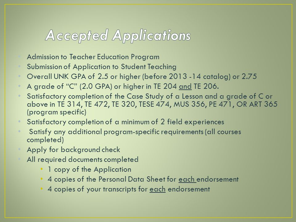 Accepted Applications