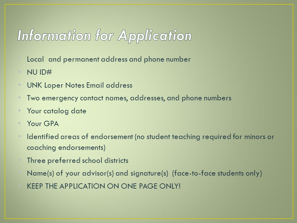 Information for Application