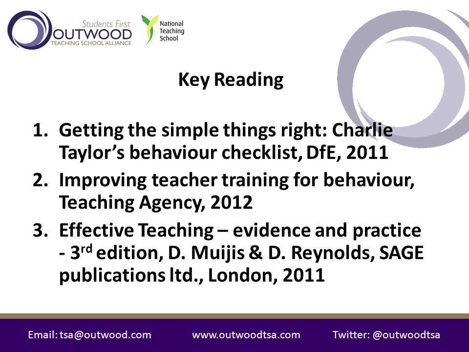 Improving teacher training for behaviour, Teaching Agency, 2012