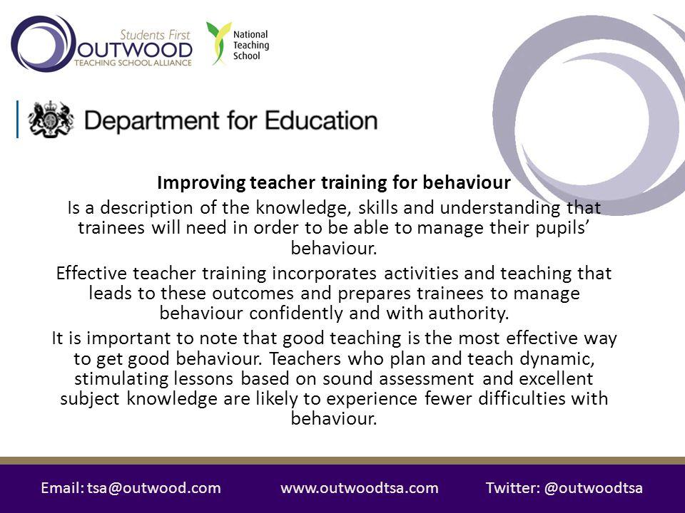Improving teacher training for behaviour