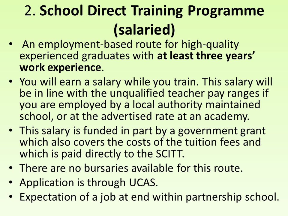 2. School Direct Training Programme (salaried)
