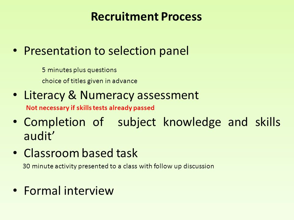 Presentation to selection panel 5 minutes plus questions