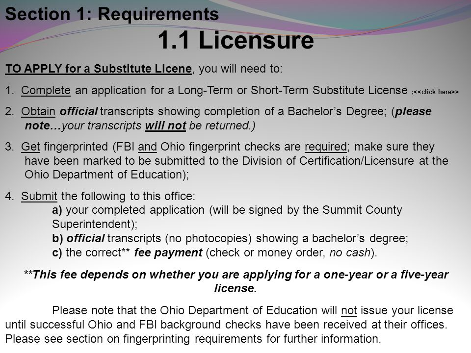 1.1 Licensure Section 1: Requirements