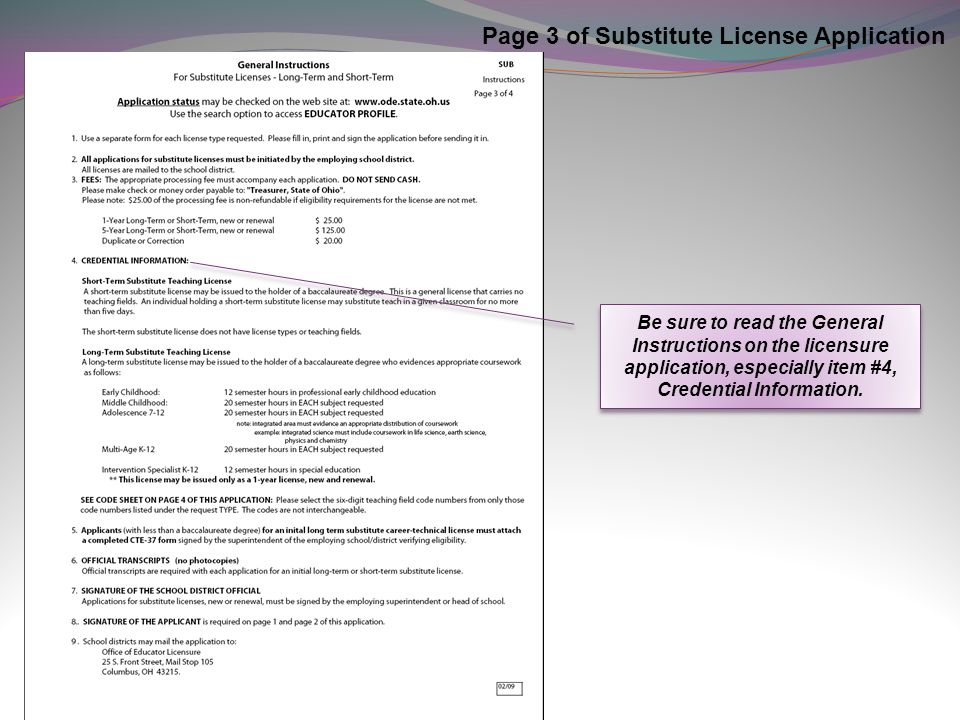 Page 3 of Substitute License Application