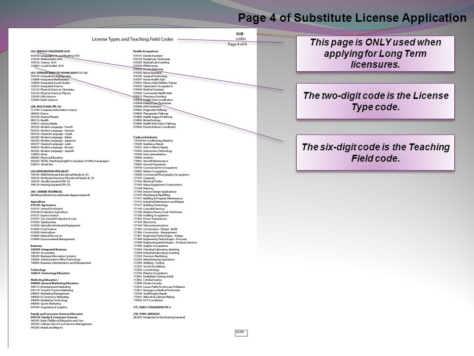 Page 4 of Substitute License Application