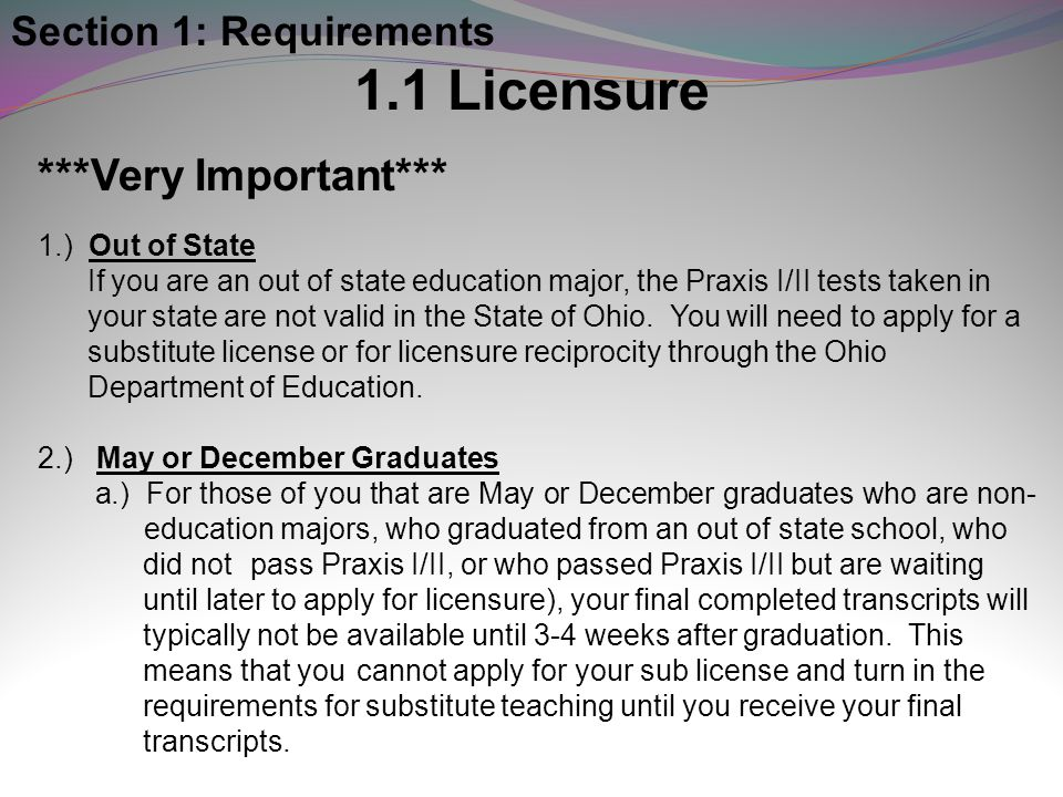 1.1 Licensure ***Very Important*** Section 1: Requirements