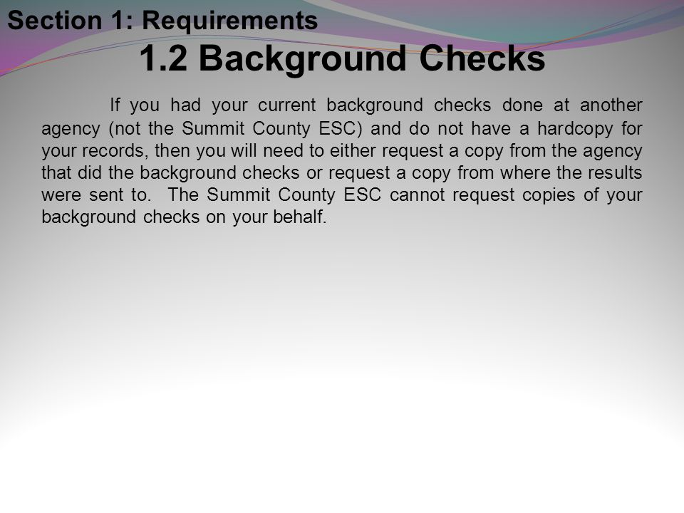 1.2 Background Checks Section 1: Requirements