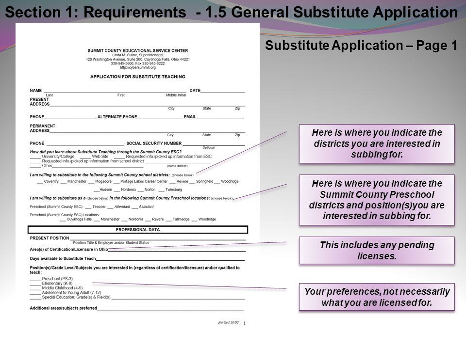 Section 1: Requirements - 1.5 General Substitute Application