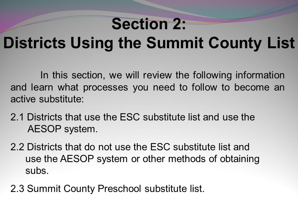 Districts Using the Summit County List