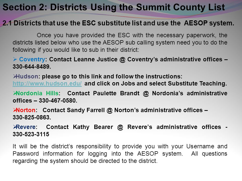 Section 2: Districts Using the Summit County List