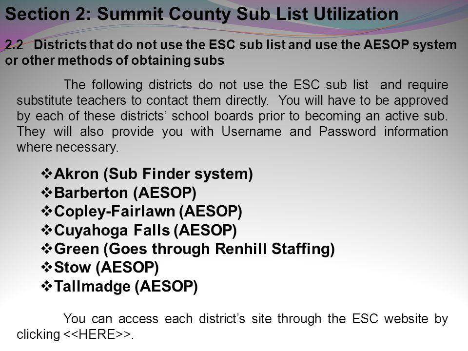 Section 2: Summit County Sub List Utilization