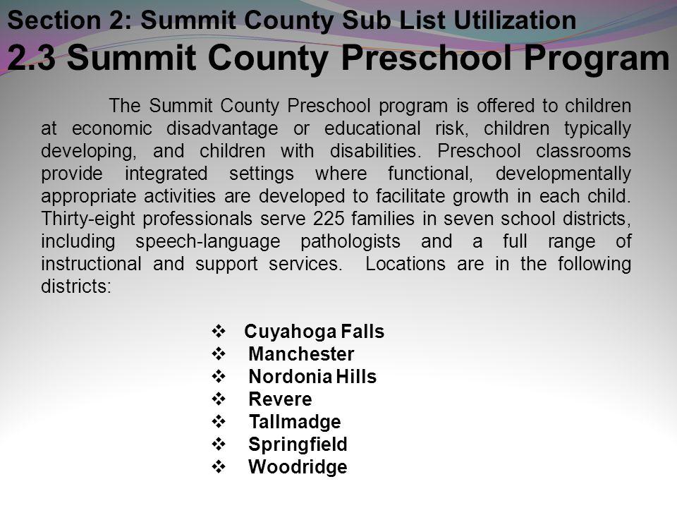 2.3 Summit County Preschool Program