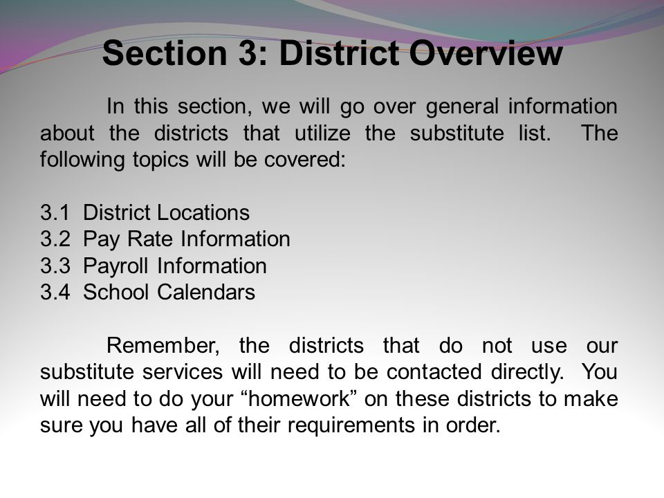 Section 3: District Overview