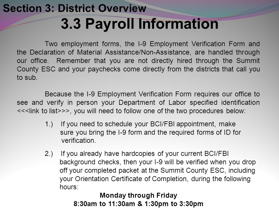 3.3 Payroll Information Section 3: District Overview