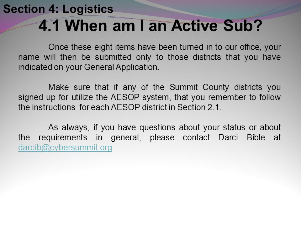 4.1 When am I an Active Sub Section 4: Logistics
