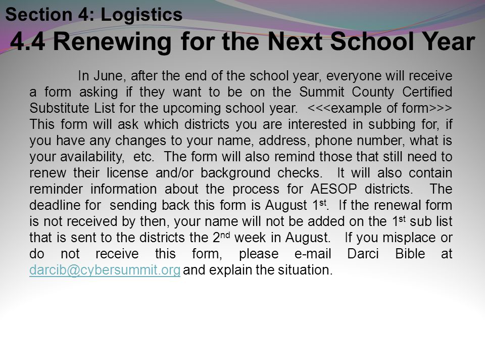 4.4 Renewing for the Next School Year