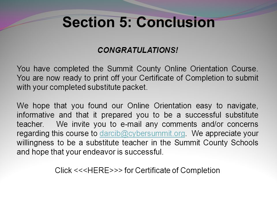 Click <<<HERE>>> for Certificate of Completion