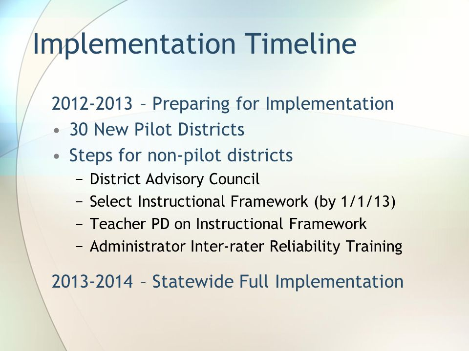 Implementation Timeline