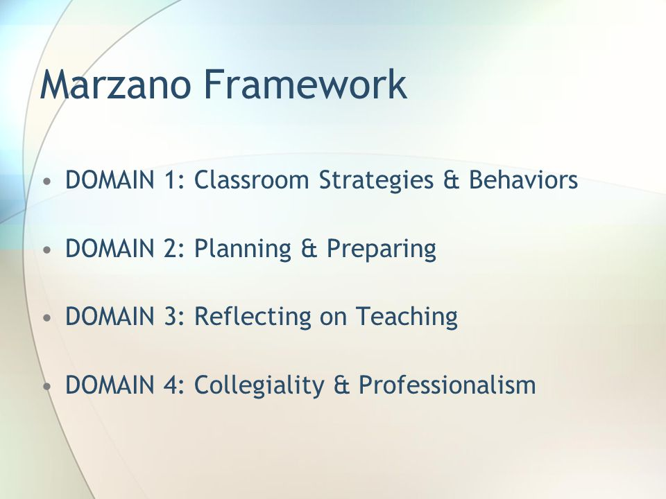 Marzano Framework DOMAIN 1: Classroom Strategies & Behaviors