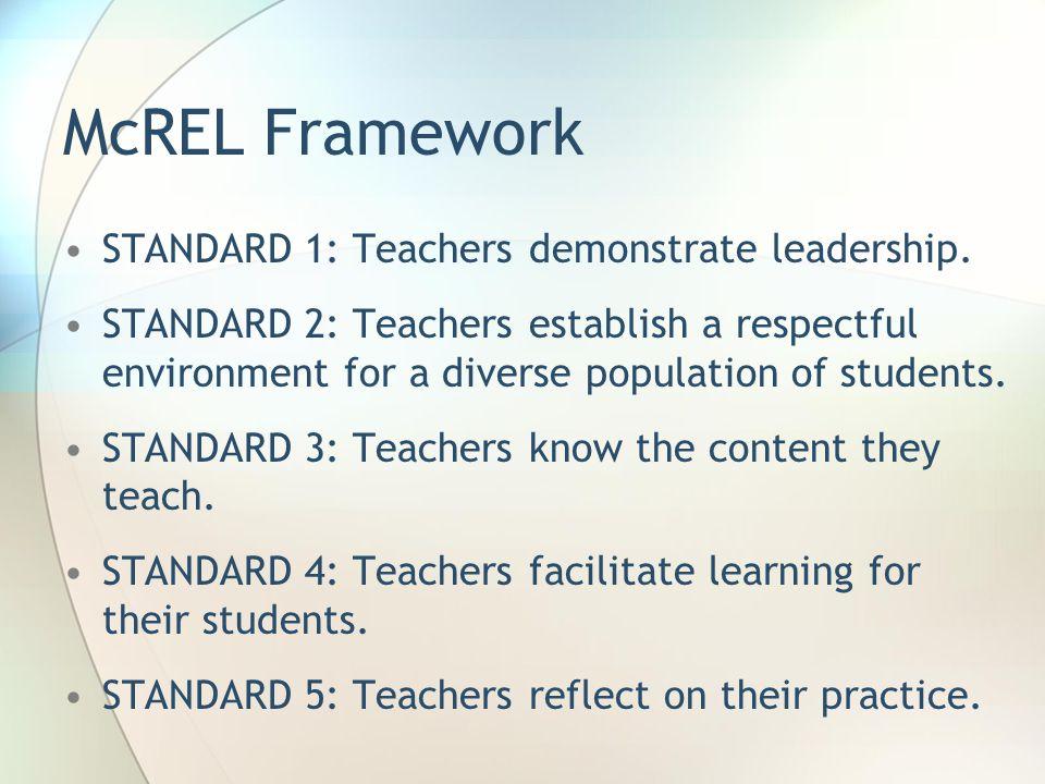 McREL Framework STANDARD 1: Teachers demonstrate leadership.