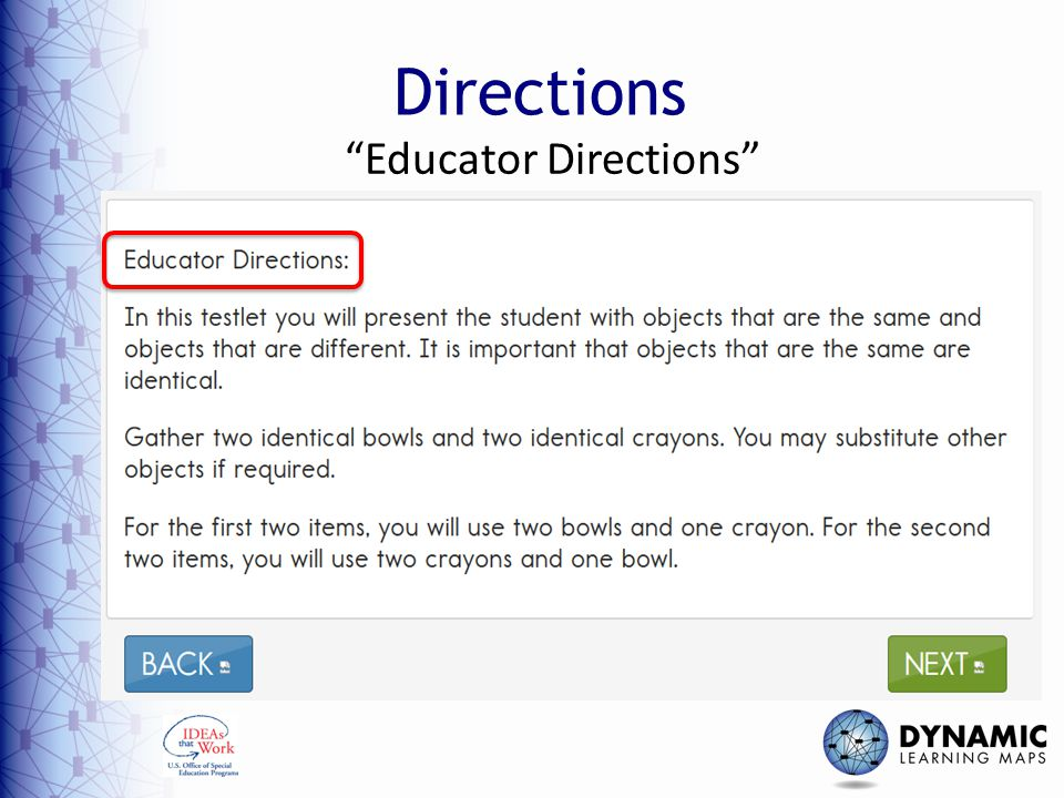 Educator Directions