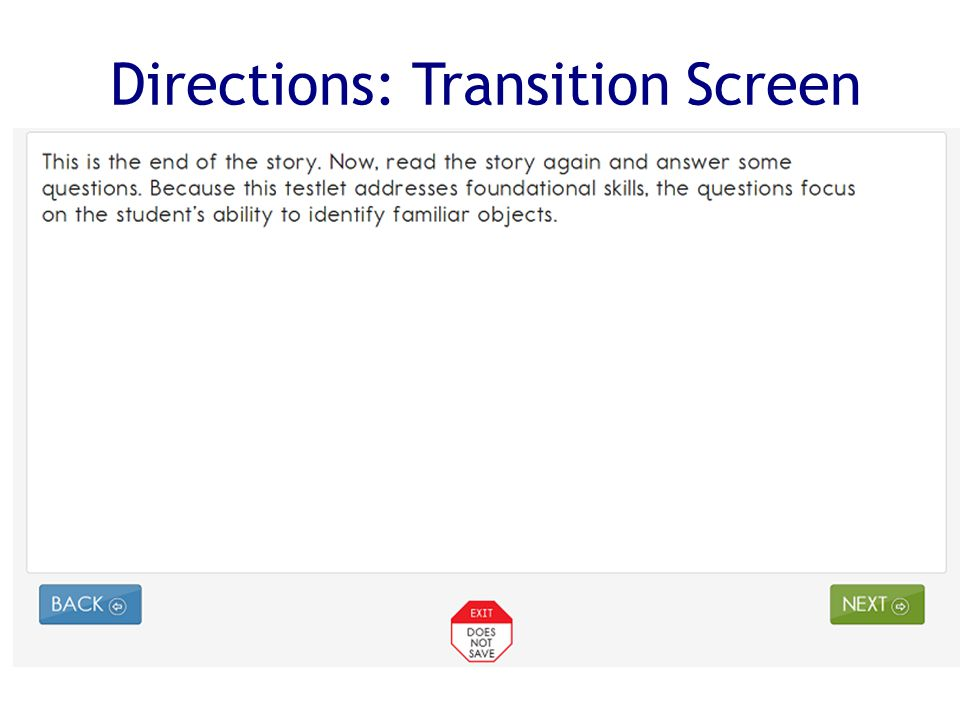 Directions: Transition Screen