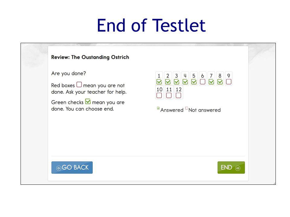 End of Testlet