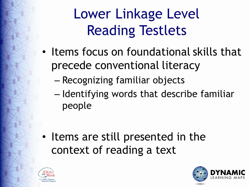 Lower Linkage Level Reading Testlets