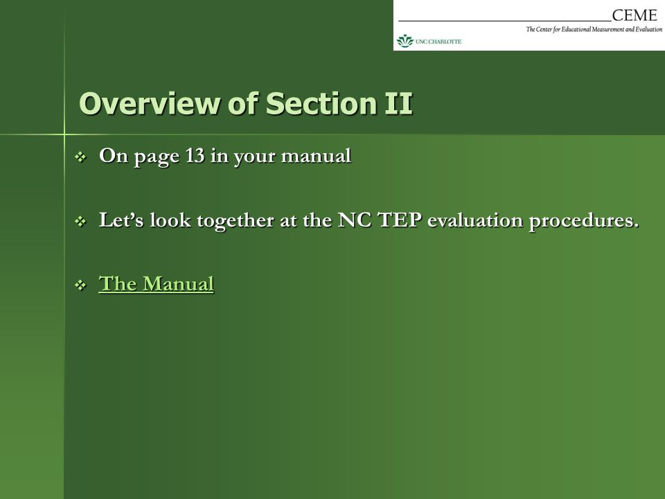 Overview of Section II On page 13 in your manual