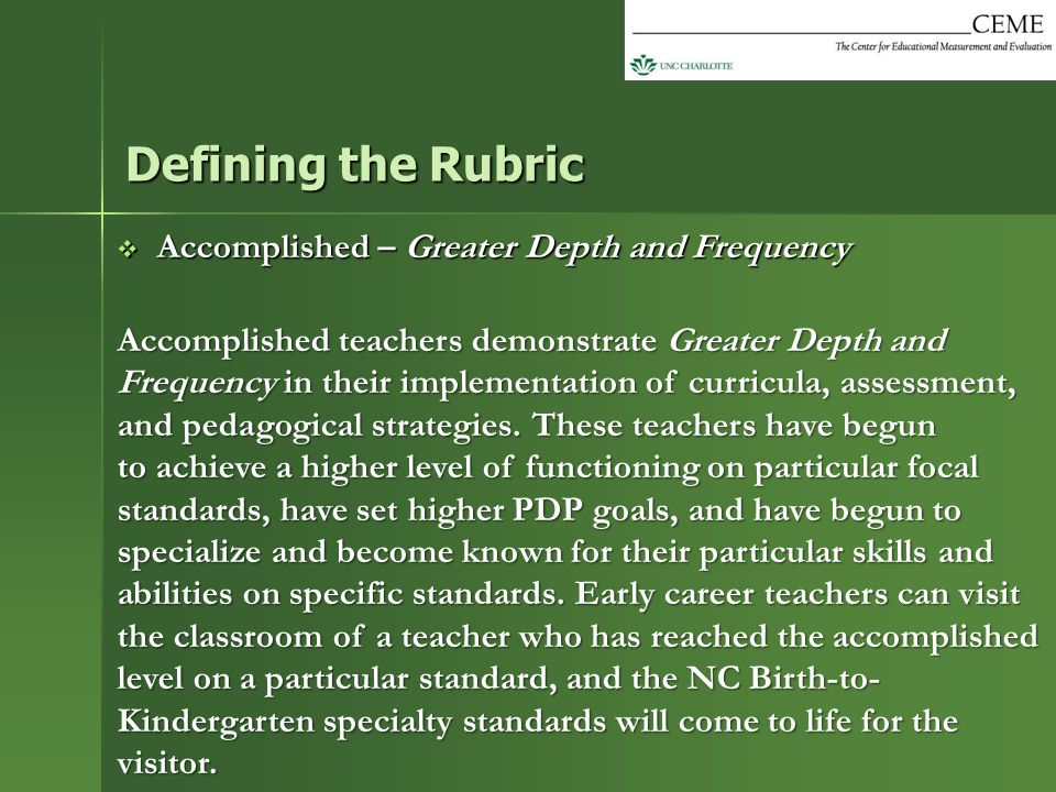 Defining the Rubric Accomplished – Greater Depth and Frequency