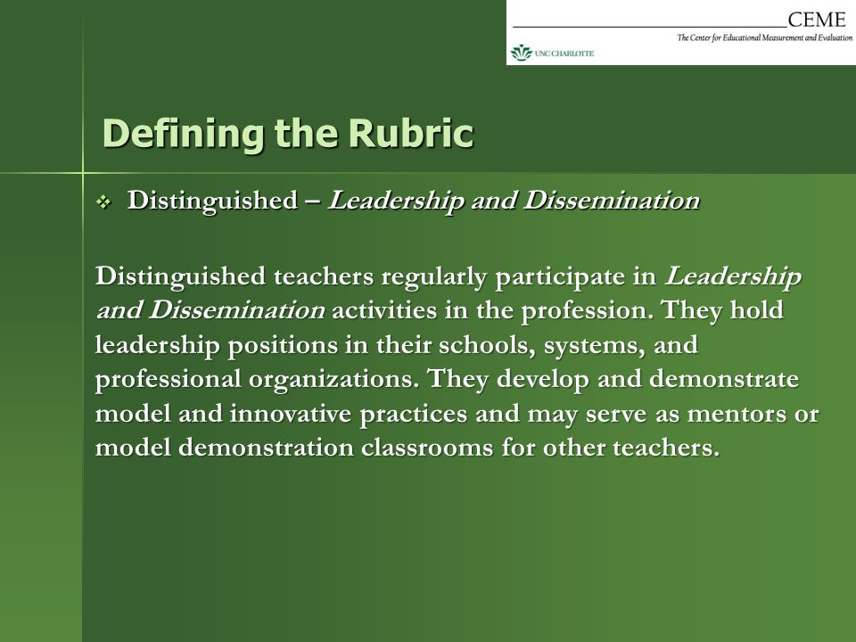 Defining the Rubric Distinguished – Leadership and Dissemination