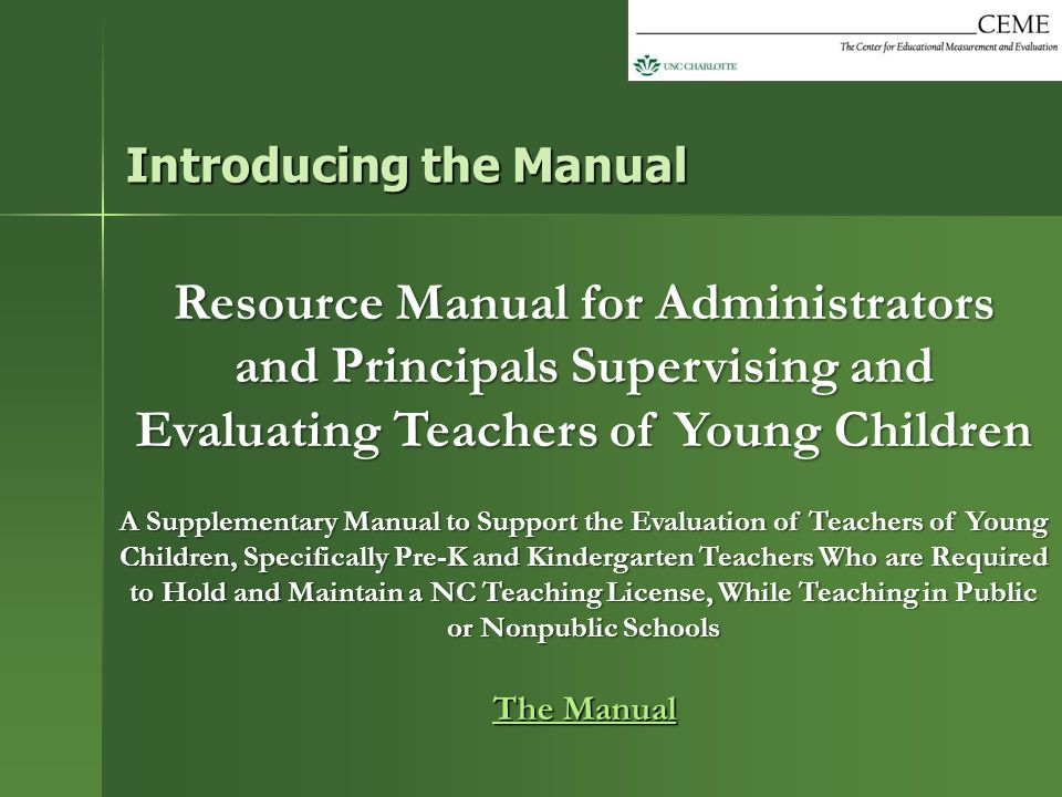 Resource Manual for Administrators and Principals Supervising and