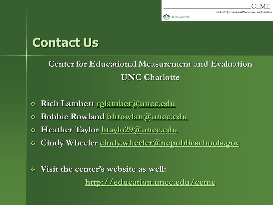 Center for Educational Measurement and Evaluation