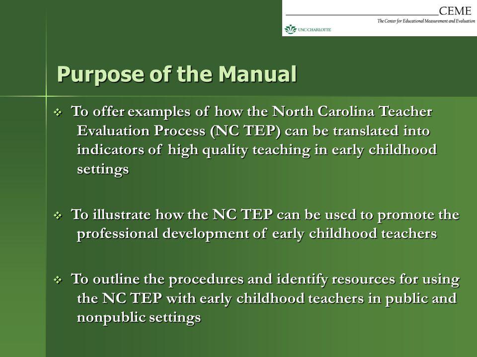 Purpose of the Manual