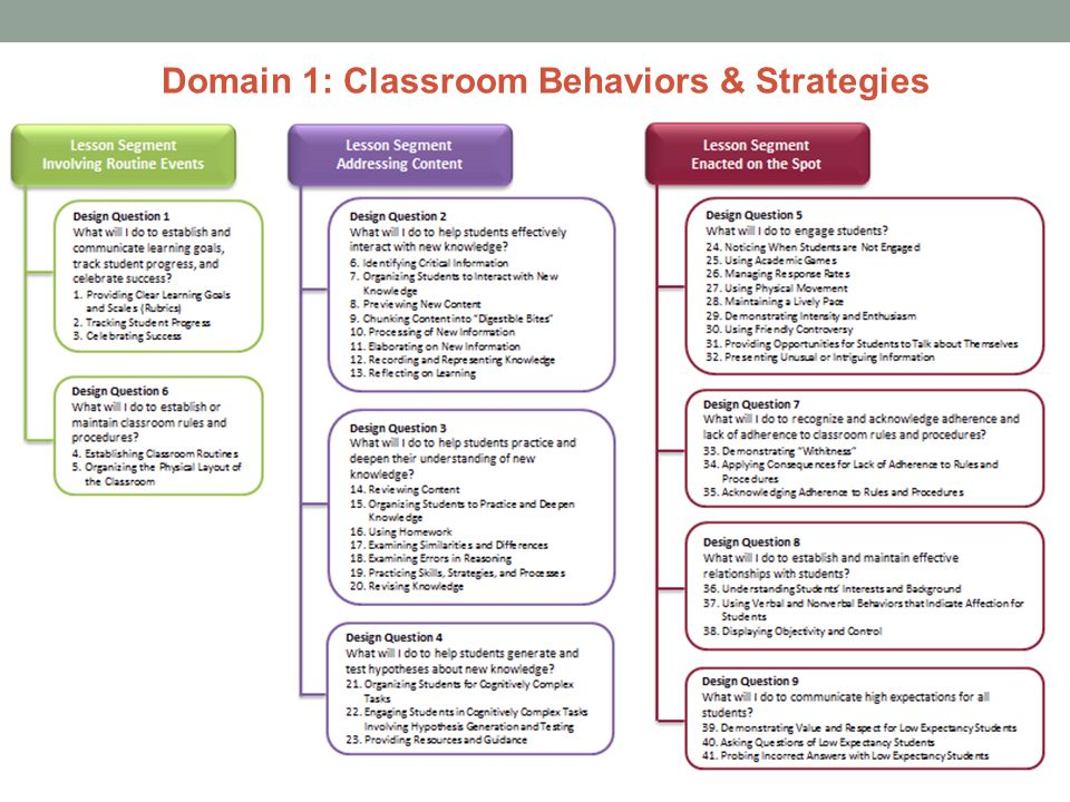Domain 1: Classroom Behaviors & Strategies