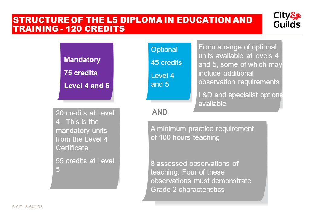 STRUCTURE OF THE L5 DIPLOMA IN EDUCATION AND TRAINING - 120 CREDITS