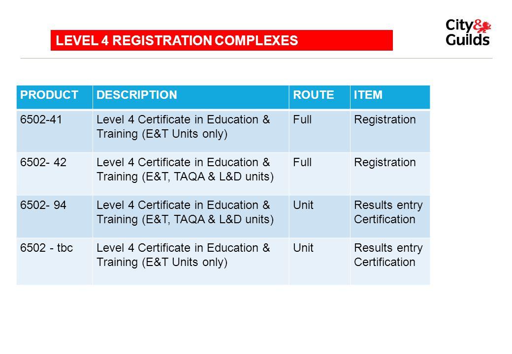LEVEL 4 REGISTRATION COMPLEXES