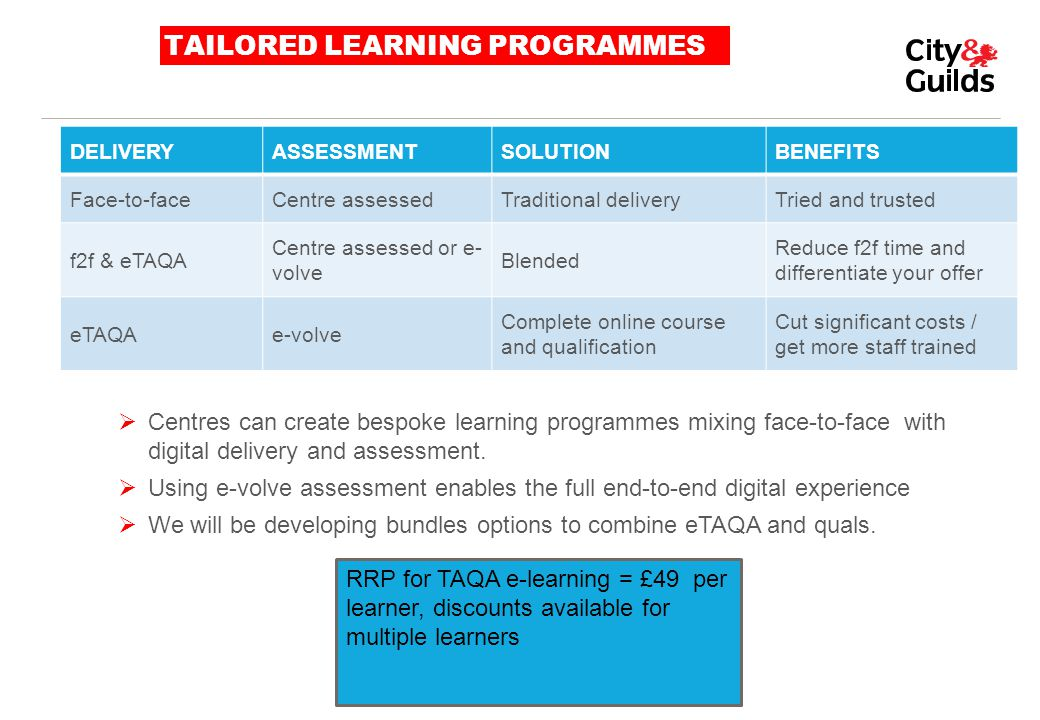 TAILORED LEARNING PROGRAMMES