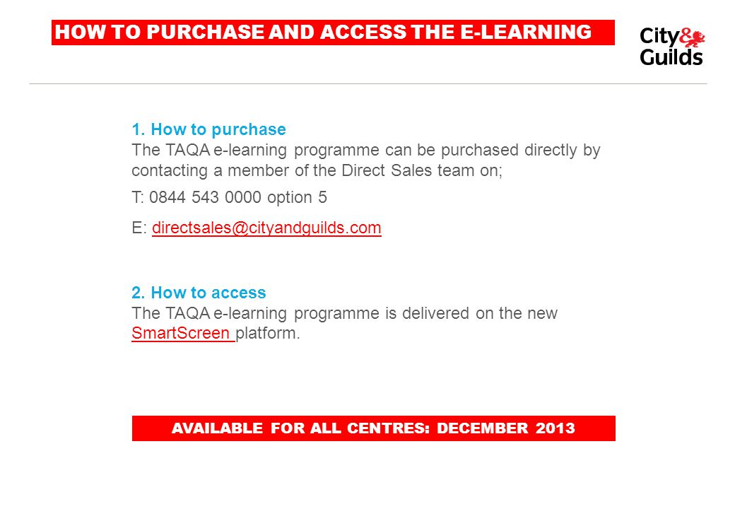 HOW TO PURCHASE AND ACCESS THE E-LEARNING