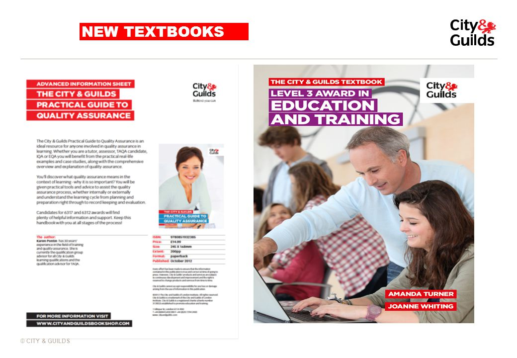 NEW TEXTBOOKS This new Level 3 Education and Training textbook from City & Guilds is the perfect.