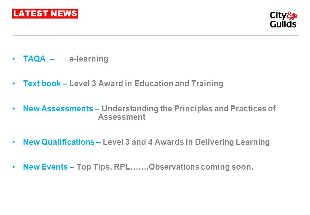 LATEST NEWS TAQA – e-learning. Text book – Level 3 Award in Education and Training.